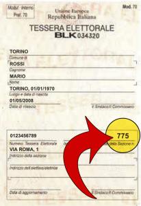 Individua la sezione elettorale sul tuo certificato e cerca il tuo seggio per le Primarie